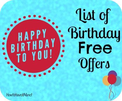 birthday free offers