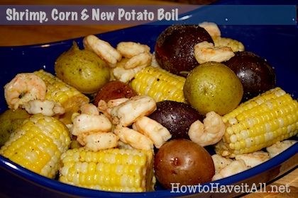 shrimp, corn and potato boil