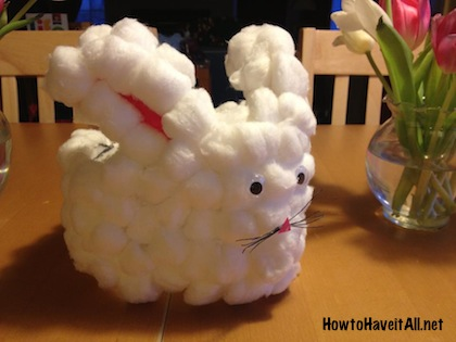 Cotton ball bunny craft easy easter craft how to have it all cotton bunny milk jug negle Image collections