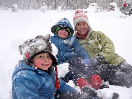 me and boys in snow