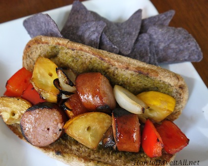 Sausage Kabobs on a Pesto Roll