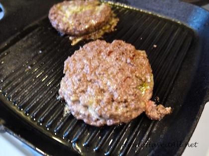 Burger on grill pan