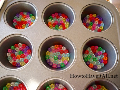 Put beads in muffin tin