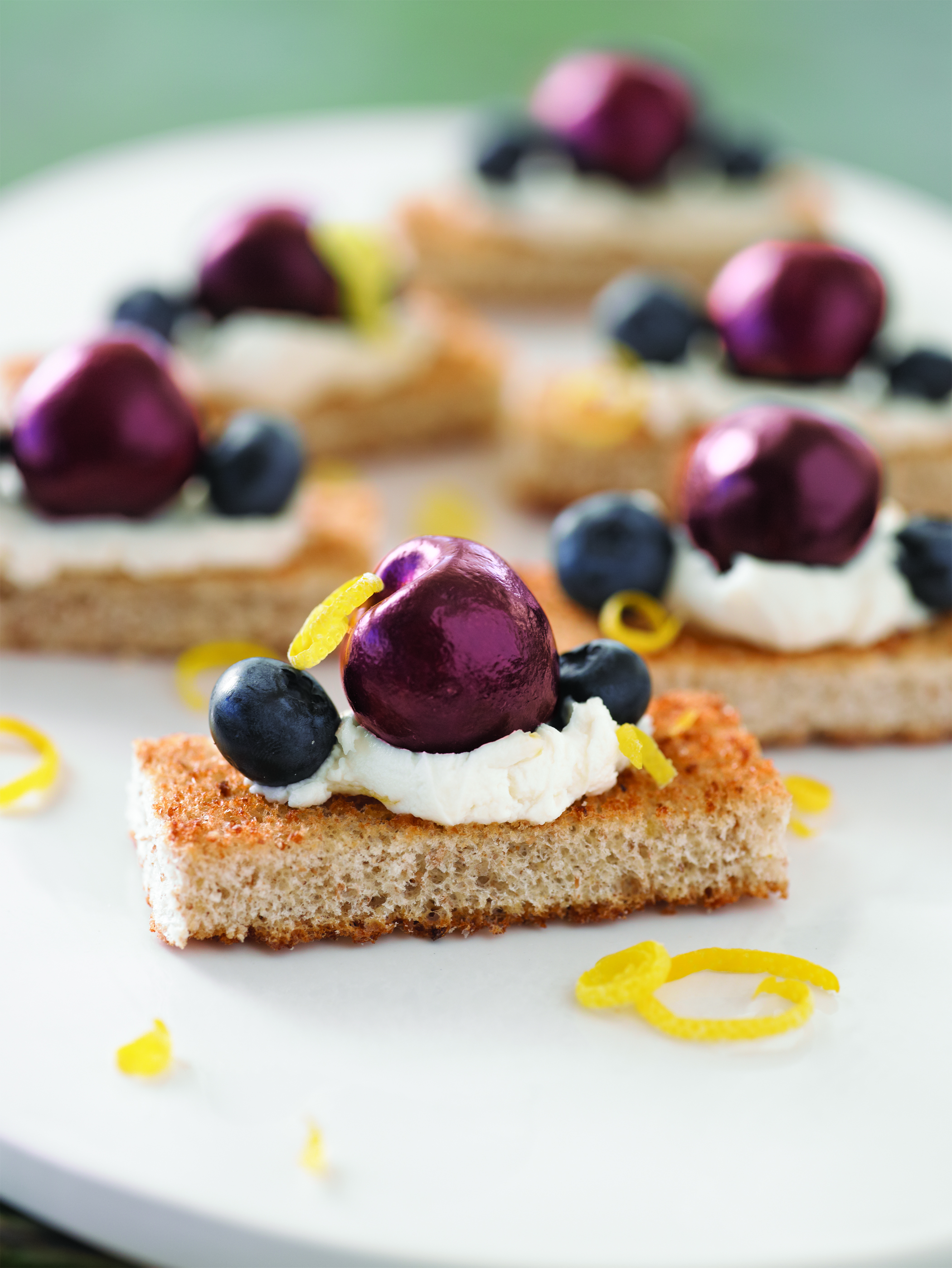 Cherry and Blueberry Whole Grain Cheesecake Bites
