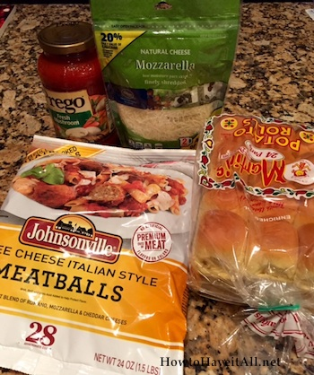 ingredients for meatball sliders